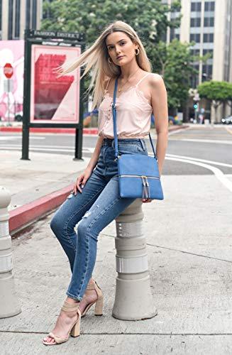 Lightweight Medium Crossbody Bag with Tassel (Denim Blue)