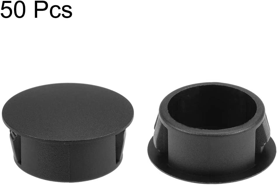 uxcell Hole Plugs Black Plastic 13mm Snap in Locking Hole Tube Fastener Cover Flush Type Panel Plugs 100 Pcs 1//2-inch