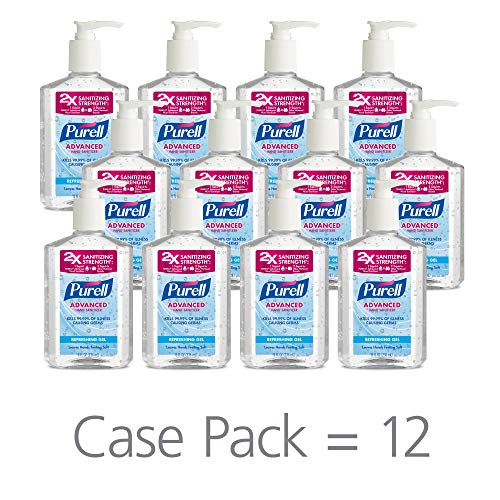 PURELL Advanced Hand Sanitizer, Refreshing Gel, 8 fl oz Hand Sanitizer Counter Top Pump Bottles (Case of 12) - 3015-12-CMR]()