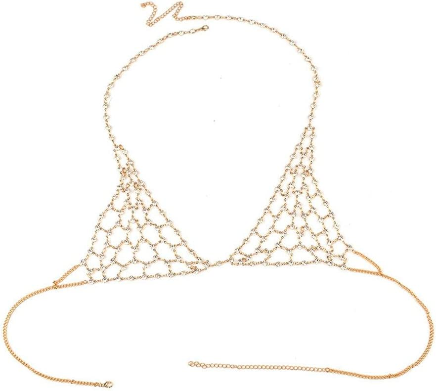 2 DCY Hand Made Exaggerated Alloy Crystal Body Chain Gold