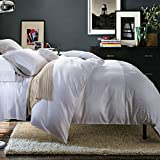 600 thread count luxury hotel quality duvet cover set with 2 pillow shams 100% extra-long staple cotton bedding collection bed sheet white-B King