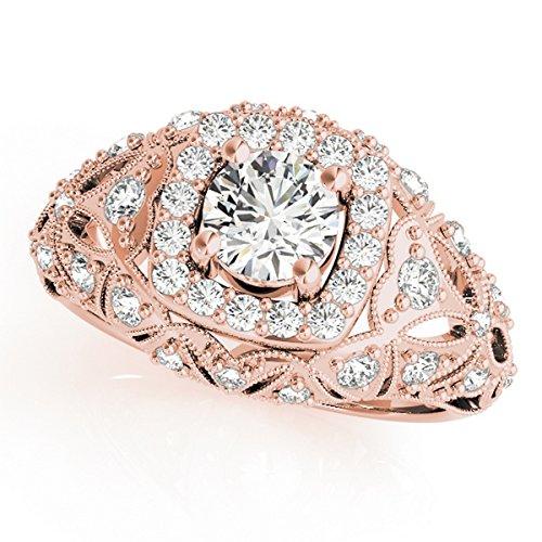 Allurez Edwardian Antique-Style Diamond Halo Engagement Ring in 18k Rose Gold (Edwardian Rose)