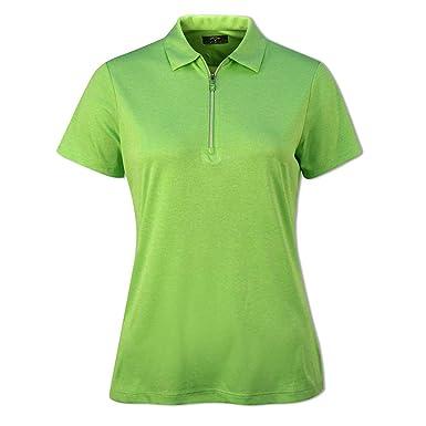 Callaway 1/4 Zip Short Sleeve Heathered Polo (Azul Claro 473 ...