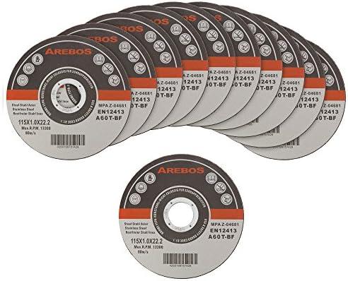 Arebos Trennscheiben für Metall INOX (115 x 1 mm, 400 Stück) / EN 12413 / MPA Z-14000/16