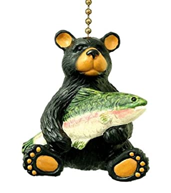 Black Bear With Bass Lodge Cabin Ceiling Fan Pull Lamp