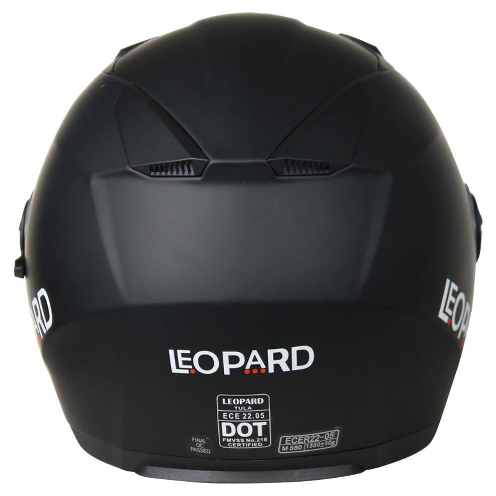 57-58cm - Motorcycle ECE 2205 Approved Leopard LEO-608 Double Visor Open Face Motorbike Helmet Matt Black M