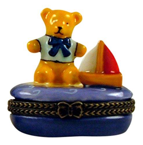 Teddy Bear Boy Toy Sail Boat Hinged Trinket Box phb (Shadow Sailboat Box)