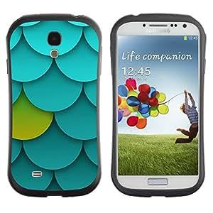 "Pulsar iFace Series Tpu silicona Carcasa Funda Case para SAMSUNG Galaxy S4 IV / i9500 / i9515 / i9505G / SGH-i337 , Patrón Palmette Verde Azul Único"""