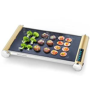 900W Electric Grill Griddle with LED Touch Control - Glass Ceramic Grill/Griddle with Even Heating, Build in Far-infrared Heating Technology, Cleaning Brush Included,CG901 by Elechomes