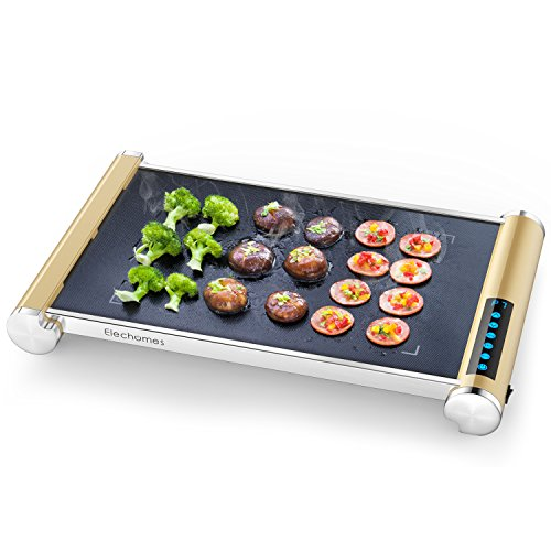 Elechomes Electric Grill Griddle with LED Touch Control – 900W Glass Ceramic Grill/Griddle with Even Heating, Build in Far-infrared Heating Technology, Cleaning Brush Included For Sale