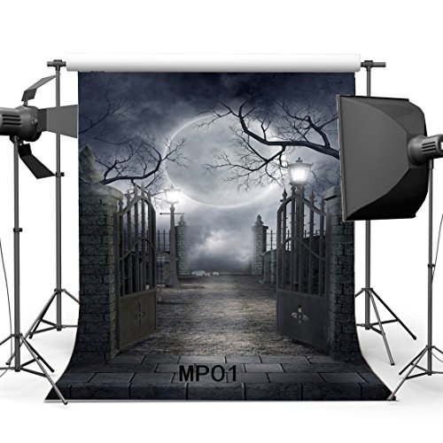 Gladbuy 5X7FT Halloween Backdrop Hallowmas Horror Night Shining Moon Night Gothic Road Lamp Metal Gate Brick Floor Scary Vinyl Photography Background Kids Adults Masquerade Photo Studio Props MP01 -