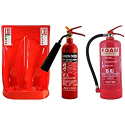 Budget Deal - 2kg CO2 Fire Extinguisher & 6 Litre Foam Fire Extinguisher with Double Stand & ID Signs by A2Z Fire