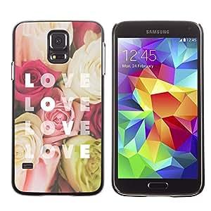 Amor Texto Rose Amarillo Rojo Flores - Metal de aluminio y de plástico duro Caja del teléfono - Negro - Samsung Galaxy S5