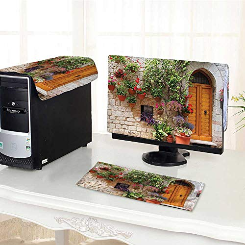 Auraisehome Keyboard dust Cover Computer 3 Pieces Collection Begonia Blooming in Box and Wooden Shutters on Brick Wall in Italy Computer dust Cover /22
