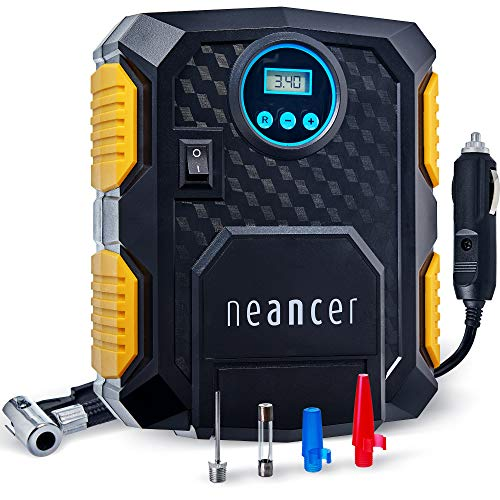 Neancer Portable Air Compressor Tire Inflator for Car, Powered Digital Compressor with Gauge 12V, Small Air Pump for Car…