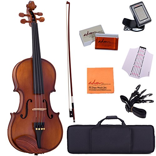 ADM 4/4 Full Size Intermediate Solid Wood Acoustic Violin Outfit, Beginner Kit, Brown by ADM