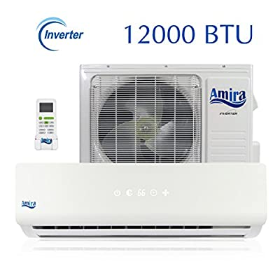 12000 BTU Mini Split Air Conditioner - 1 Ton Ductless System with Inverter and Heat Pump - Complete Set with 15 Feet kit - 208-230 VAC