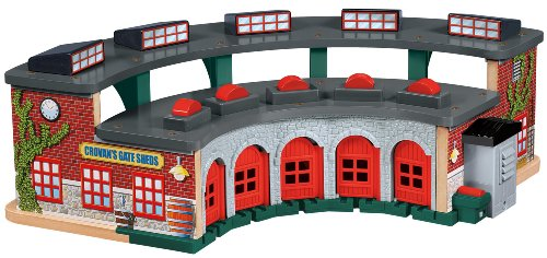 Fisher-Price Thomas & Friends Wooden Railway, Deluxe Roundhouse (Thomas The Train Tidmouth Sheds Deluxe Set)