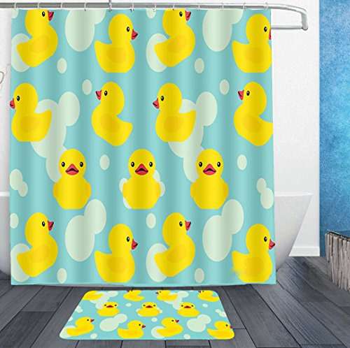 cky Shower Curtain Liner With Hooks and non slip bath rug mat Mildew Resistant Waterproof Polyester Fabric Bathroom Decor Set 72x72/16x24 ()