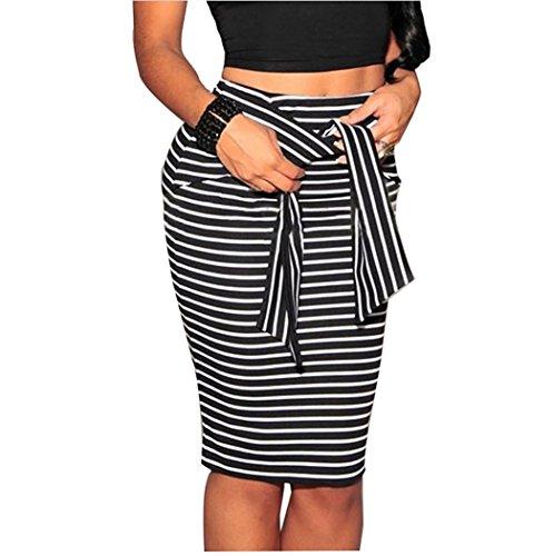 Faldas de Tubo de Rayas Midi Falda Estrecho Lapiz Cortas Vestidos de Fiesta Negro