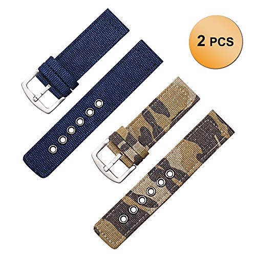 2 Pack Field Dark Blue and Brown Camouflage Canvas Watch Bands Nylon Watch Strap Watch Bracelet Band (Blue Camo Fashion Watch)