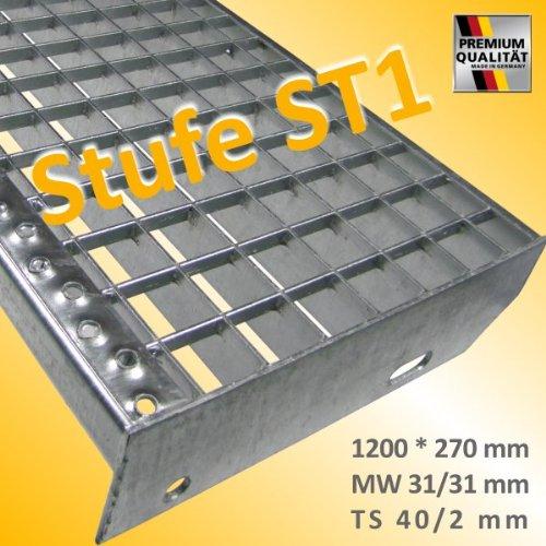Gitterroststufen als Pressroststufen F/üllstab glatt Tragstab glatt Maschenweite 31 * 31 mm Gitterroststufe 1200 * 270 mm rutschhemmend durch Sicherheitsantrittskante