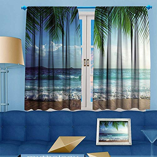PRUNUS Blackout Curtain Shutterstock Super Super Fleece Throw Ocean Palms Trees Tropical Island Beach Seashore Water Room Darkening Curtains W63 x L45 inch ()
