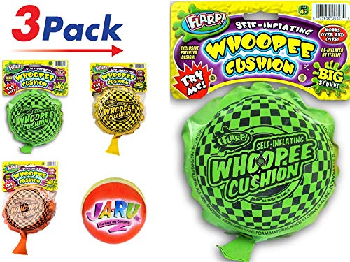 JA-RU Whoopee Cushion Self-Inflating FLARP (3 Units) Prank Gas Sounds Plus Bouncy Ball | Item #327-3slp (Best Summer Camp Pranks)