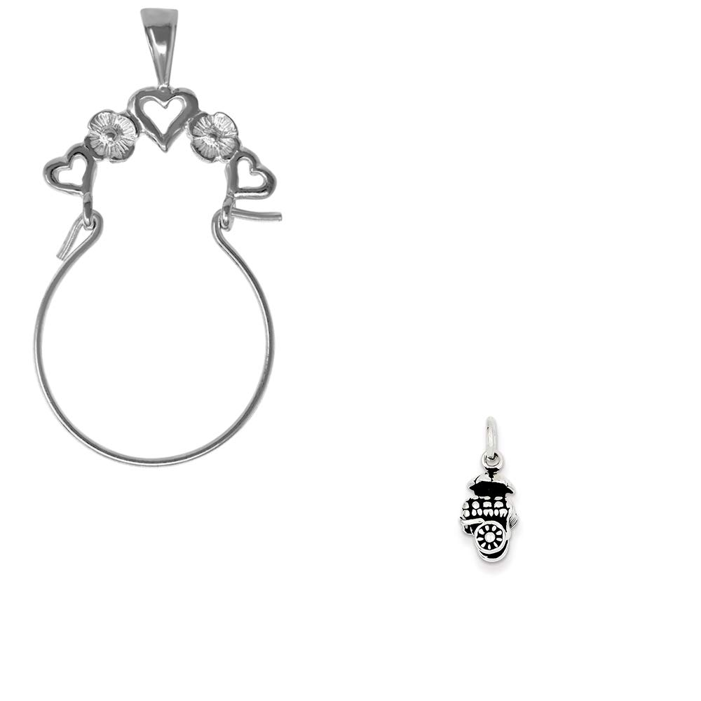 Mireval Sterling Silver Antiqued Fruit Cart Charm on an Optional Charm Holder