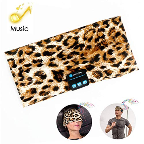 Bluetooth Headband Headphones, Running Headband Music Earphones Headband Sports Headset Built-in Speakers Microphone for Calling, Workout, Yoga, Jogging, Leopard-Brown