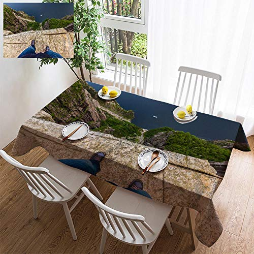 (HOOMORE Simple Color Cotton Linen Tablecloth,Washable, July 20 2015 at The Edge of The Pulpit Rock Norway Decorating Restaurant - Kitchen School Coffee Shop Rectangular 140×60in)