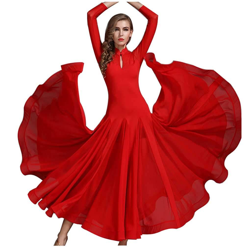 お見舞い モダンダンススカートCheongsam B07HC5BZJF Collar レッド Dress Waltzアクロバティックスカート B07HC5BZJF M|レッド Collar レッド M, 【新品】:4639e020 --- senas.4x4.lt