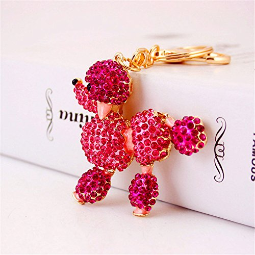 Cute Poodle Sparkling Charm Blingbling Dog Keychain Crystal Rhinestone Pendant (Cute Poodle)