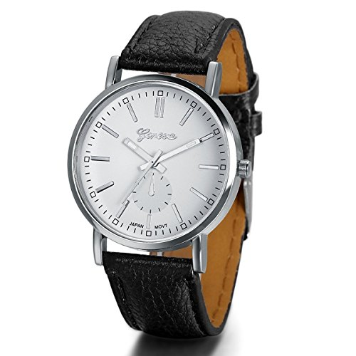 Tone Case Leather Strap (JewelryWe Silver Tone Case with Black Leather Strap Men's Watch)