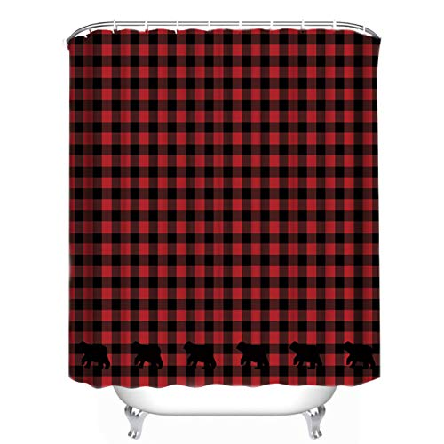 Custom Buffalo Check Bear Applique Shower Curtain 66