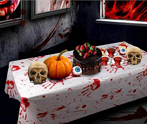 Zombie Birthday Party Supplies Tablecloths - Plastic Bloody Decorations Handprints Tablecovers Scary Boy Themed Décor Gift Large Table Cover with Blood Splatter (2-Pack), 51x102inches