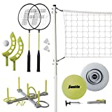 Franklin Sports Fun 5 Combo Set - Badminton, Volleyball with Pump, Ring Toss, Flip Toss, and Flying Disc