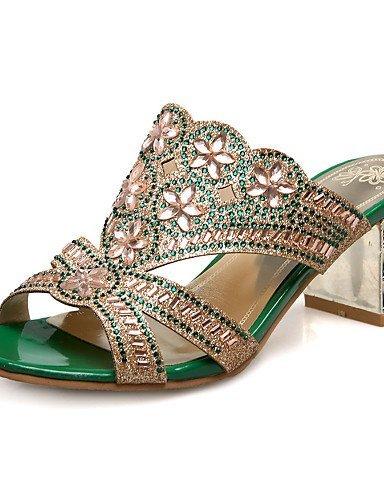 ShangYi Women's Shoes Heel Heels / Peep Toe Sandals / Heels / Clogs & Mules Outdoor / Dress / Casual Green / Gold golden cTNnPU0