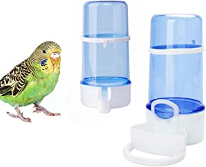 2 Pack Automatic Bird Feeder Bird Water Bottle Drinker Clear Food Seed Dispenser Container Set Hanging in Cage No-Mess for Parrots Budgie Cockatiel Lovebirds Finch Canary Hamster 415ml