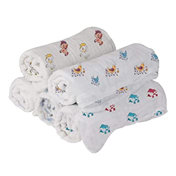 Mom's Home Organic Cotton Baby Muslin Swaddle - Pack of 3-92x92 cm (Any 3 Mix Designs)