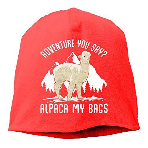UI&PPQ54 Unisex Adventure Alpaca My Bags Soft Winter Activewear Wool Beanies Hat Skull Caps