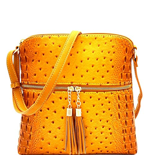 Gold Matte Handbags - Ostrich PU Leather Embossed Tassel Accent Zipper Pocket Large Crossbody Bag