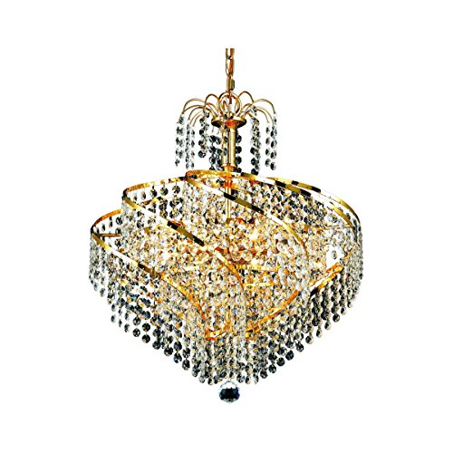 Elegant Lighting 8052D18G/SA Spiral Collection 8-Light Hanging Fixture with Spectra Swarovski Crystal, Gold Finish ()