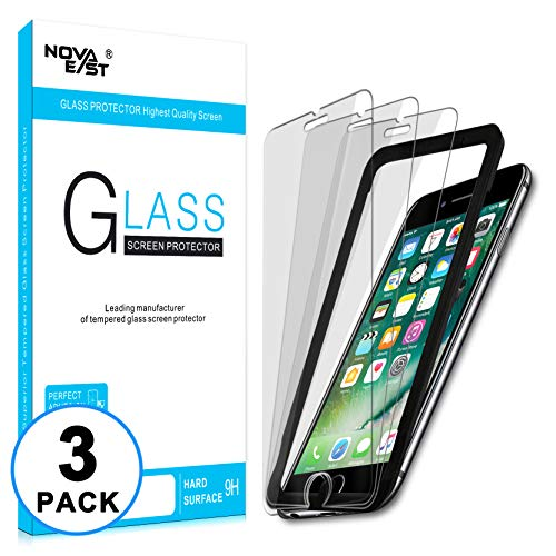 Novaeast Screen Protector for iPhone 8, iPhone 7, iPhone 6s, iPhone 6 Tempered Glass Screen Protector 4.7-Inch with Easy Install Frame, Lifetime Replacement, 3-Pack (Glass Iphone 6 Screen Protector)