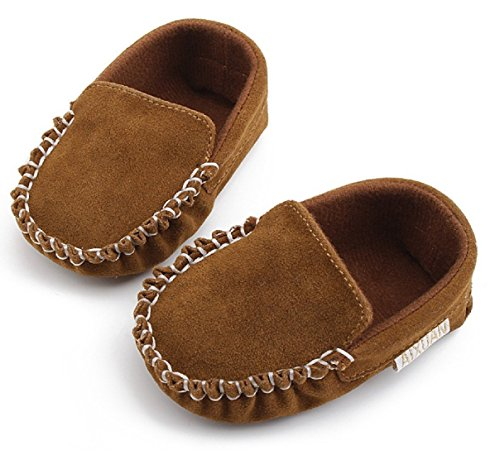Hot PU Suede Leather Newborn Baby Boy Girl Baby Moccasins Soft Moccs Shoes Bebe Fringe Soft Soled Non-slip Footwear Crib Shoe (1, Brown) (Lebron Halloween Shoes)