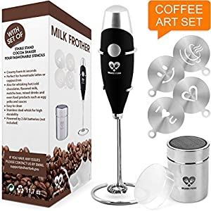 Milk Frother Coffee Art Set - Handheld Electric Portable Drink Mixer Battery Operated Foam Maker Wand - Cappuccino Hot Chocolate Latte Frappe - Stainless Steel Stand - Cocoa Shaker - 4 Art Stencils