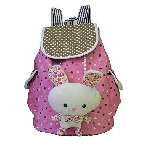 FTSUCQ Girls Canvas Bunny Student Backpack Travel Daypack Tote School Bags Shoulder Rosered - Designer Lim