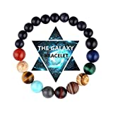 Vlinsha Chakra Bracelet, Solar System Galaxy Planet Anxiety Relief Gemstones Distance Friendship Handmade Bead Bracelets Gifts for Women Men Couples (Solarsystem-8mm+6mm)