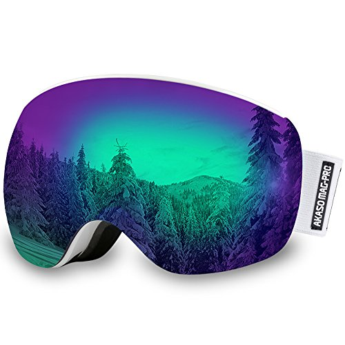 AKASO Mag-Pro OTG Ski Goggles, Snowboard Goggles - Magnetic Interchangeable lenses, Anti-fog, 100% UV Protection, Helmet Compatible Snow Goggles for Men & Women, Free Balaclava Ski Mask Included (Snowboarding Packages Women)