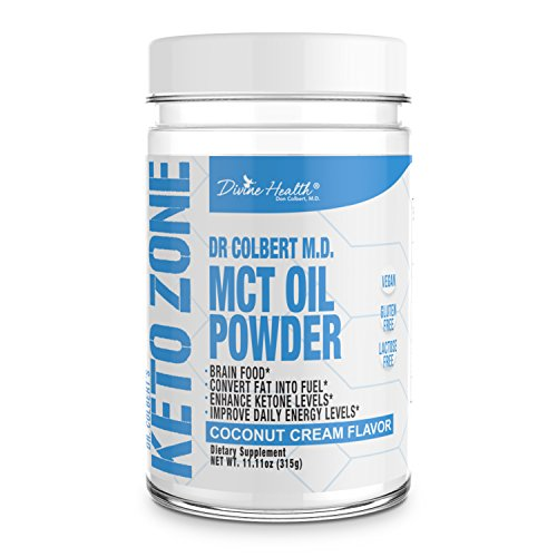 Powder Flavored Creamers (Divine Health Keto Zone MCT Oil Powder, Coconut Flavor, 300 g)